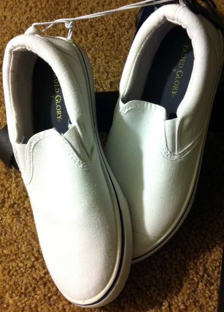Start with a blank canvas. I bought the shoes for $9 at Walmart.
