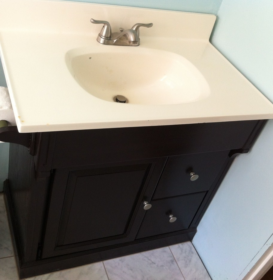Stain Bathroom Cabinets Darker bathroom vanity re-design for just a few $$ - mom in music city