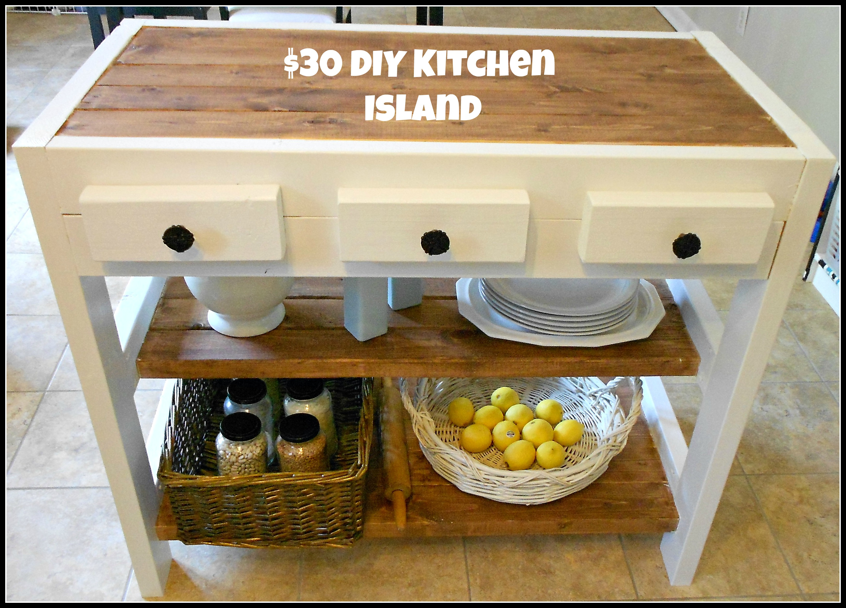 $30 DIY Kitchen Island - Mom in Music City