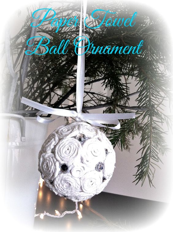 Paper Towel Ball Ornament