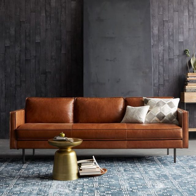 Brown Leather Sofa, White Walls & Cool Blues