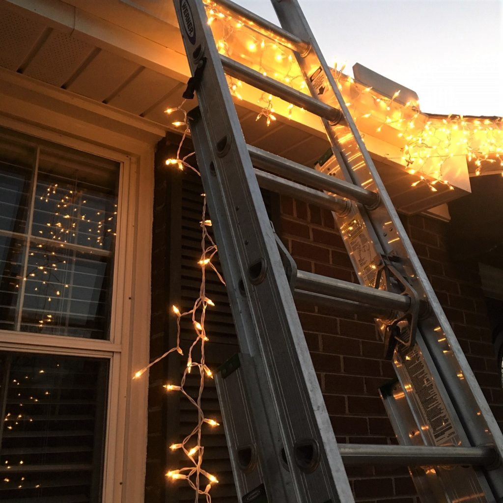blinking lights with ladder